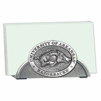 Arkansas Razorbacks Metal Business Card Holder with Pewter Accent