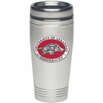 Arkansas Razorbacks Red Stainless Steel Travel Mug with Pewter Accent