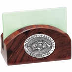 Arkansas Razorbacks Wood Business Card Holder with Pewter Accent