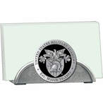 Army Black Knights Black Crest Metal Business Card Holder with Pewter