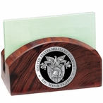 Army Black Knights Black Crest Wood Business Card Holder with Pewter