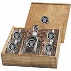 Army Black Knights Crest Black Pewter Accent Capitol Decanter Box Set