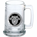 Army Black Knights Crest Black Pewter Accent Glass Beer Mug