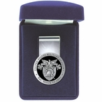 Army Black Knights Crest Black Pewter Accent Steel Money Clip