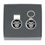 Army Black Knights Crest Black Pewter Money Clip & Key Chain Gift Set