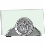 Army Black Knights Crest Metal Business Card Holder with Pewter Accent