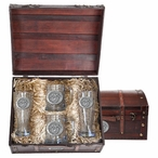 Army Black Knights Crest Pewter Accent Beer Chest Box Set