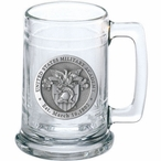 Army Black Knights Crest Pewter Accent Glass Beer Mug