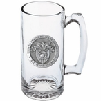 Army Black Knights Crest Pewter Accent Glass Super Beer Mug
