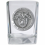 Army Black Knights Crest Pewter Accent Shot Glasses, Set of 4