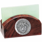 Army Black Knights Crest Wood Business Card Holder with Pewter Accent