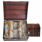 Army Black Knights Pewter Accent Beer Chest Box Set
