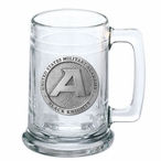 Army Black Knights Pewter Accent Glass Beer Mug