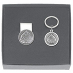 Aspen Leaf Money Clip & Key Chain Gift Set with Pewter Accents
