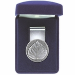 Aspen Leaf Steel Money Clip with Pewter Accent