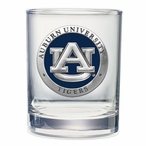 Auburn Tigers Blue Pewter Accent Double Old Fashion Glasses, Set of 2