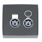Auburn Tigers Blue Pewter Accent Money Clip & Key Chain Gift Set