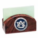 Auburn Tigers Blue Wood Business Card Holder with Pewter Accent