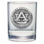 Auburn Tigers Pewter Accent Double Old Fashion Glasses, Set of 2