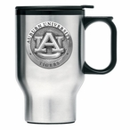 Auburn Tigers Stainless Steel Travel Mug with Handle & Pewter Accent