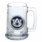 Auburn University Tigers Blue Pewter Accent Glass Beer Mug