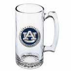 Auburn University Tigers Blue Pewter Accent Glass Super Beer Mug