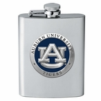 Auburn University Tigers Blue Stainless Steel Flask with Pewter Accent