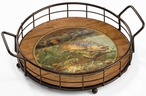 Autumn Dream Day Trout Fish Metal and Wood Serving Trays, Set of 2