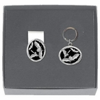 Bats Black Money Clip & Key Chain Gift Set with Pewter Accents