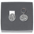 Bats Money Clip & Key Chain Gift Set with Pewter Accents