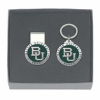 Baylor Bears Green Pewter Accent Money Clip & Key Chain Gift Set