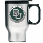 Baylor Bears Green Stainless Steel Travel Mug with Handle & Pewter