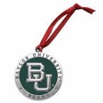 Baylor University Bears Green Pewter Accent Ornaments, Set of 2