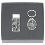 Bighorn Sheep Money Clip & Key Chain Gift Set with Pewter Accents
