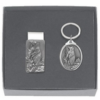 Black Bear Money Clip & Key Chain Gift Set with Pewter Accents