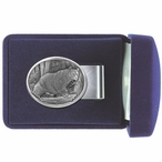 Black Bear Oval Steel Money Clip with Pewter Accent