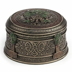 Bronze Acorn Tree Round Trinket Box