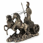 Bronze Athena Riding Chariot with Spear and Shield Sculpture