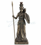 Bronze Athena with Spear and Shield Sculpture