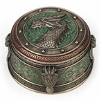 Bronze Celtic Dragon Crest Round Trinket Box