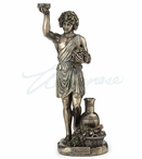 Bronze Dionysus Greek God of Wine Holding Grapes Sculpture