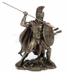 Bronze Leonidas Spartan Soldier with Spear and Shield Sculpture