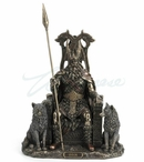 Bronze Odin Sitting on Throne with Geri and Freki Sculpture