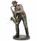 Bronze Saxophone Player Sculpture