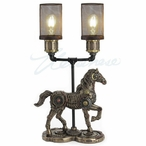 Bronze Steampunk Horse Gait Twin Table Lamp with Mesh Shades