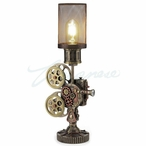 Bronze Steampunk Projector Table Lamp with Mesh Shade