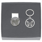 Butterfly Money Clip & Key Chain Gift Set with Pewter Accents