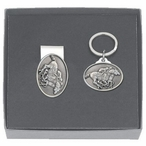 By A Nose Horse and Jockey Money Clip & Key Chain Pewter Gift Set