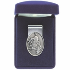 By A Nose Horse and Jockey Steel Money Clip with Pewter Accent