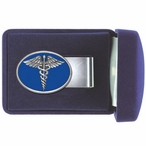 Caduceus Medical Symbol Blue Steel Money Clip with Pewter Accent